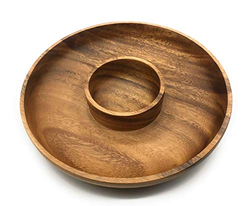 SDS HOME IMPORTS Acacia Wood Chip n Dip Bowl 9