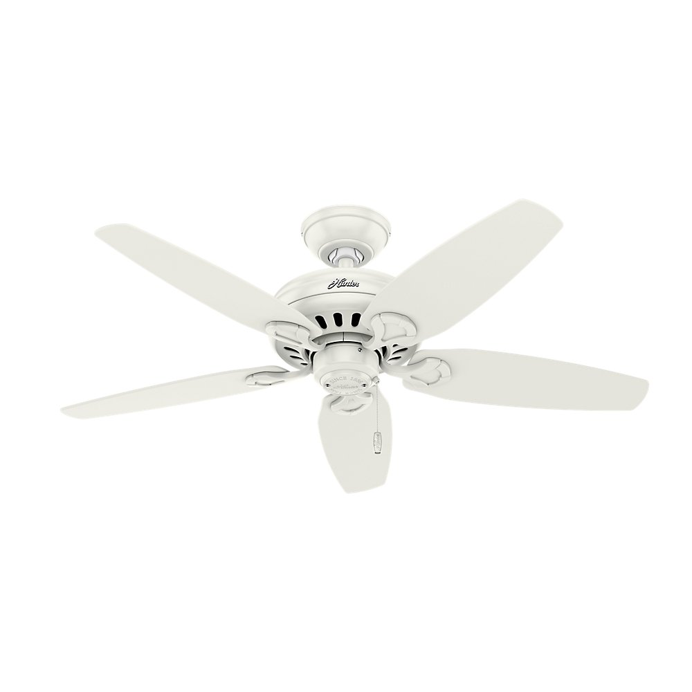 Hunter Indoor Ceiling Fan with light and pull chain control – Cedar Park 44 inch, White, 52134