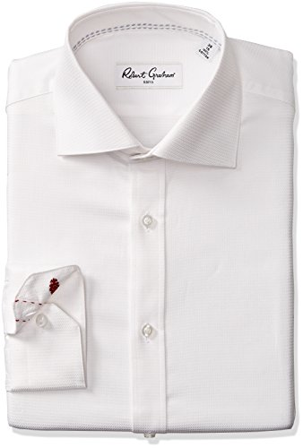 Robert Graham Men's Classic Fit Joy Solid Dress Shirt, White, 17'' Neck 36'' Sleeve by Robert Graham