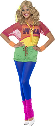 Olivia Toddler Costumes (Smiffy's Women's Let's Get Physical Girl Costume, Leotard, Crop Top, Shorts and Headband, Back to the 80's, Serious Fun, Size 6-8, 39465)