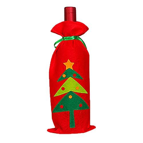 Iusun Christmas Cloth+Velvet Wine Bottle Bag Cover, Xmas Tree Gift Pattern Bottle Cap Decor Party Table Home Decoration (B) (Velvet Tree)