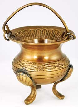 Wood Burning Fireplace Accessories Cauldrons Brass Fancy Celtic Design Three Footed Small 3