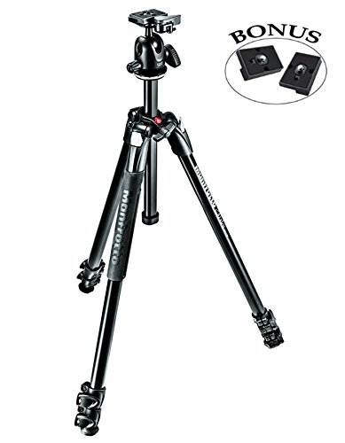 Manfrotto MK290XTA3-BHUS 290 Xtra Ball Head Kit (Black) and Two ZAYKiR RC2 Quick Release -