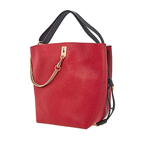 (Givenchy Women's GV Bucket Bag in Grained Leather Red)