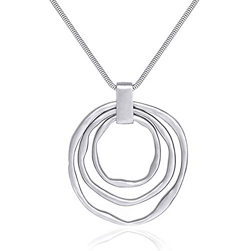 Long Sweater Chain Double Circle Pendant Necklace Bold Snake Chain Women Statement Necklace (Silver triple)
