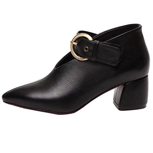 AIYOUMEI Damen Leder Pumps mit Schnalle und Absatz 5cm Absatz Blockabsatz High Heels Elegant Schuhe Schwarz