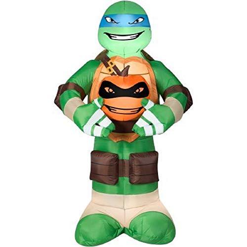Gemmy Airblown Inflatable 5' X 3' Teenage Mutant Ninja Turtles Leonardo with Pumpkin Halloween Decoration