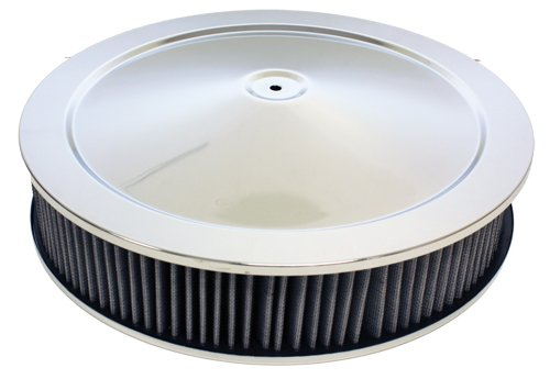 GM 14″ CHROME STEEL AIR CLEANER SET – OFF-SET BASE W/ WASHABLE FILTER