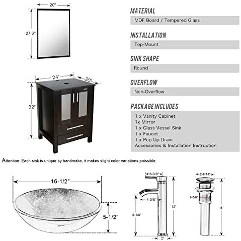 eclife 60 Bathroom Vanity Sink Combo Black W Side Cabinet Vanity Clear Round Tempered Glass Vessel Sink 1.5 GPM Water Save Chrome Faucet Solid Brass Pop Up Drain,W Mirror A16 2B02