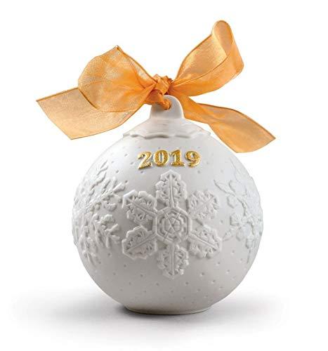 Lladro 2019 Porcelain Christmas Ball, Golden Luster #8444