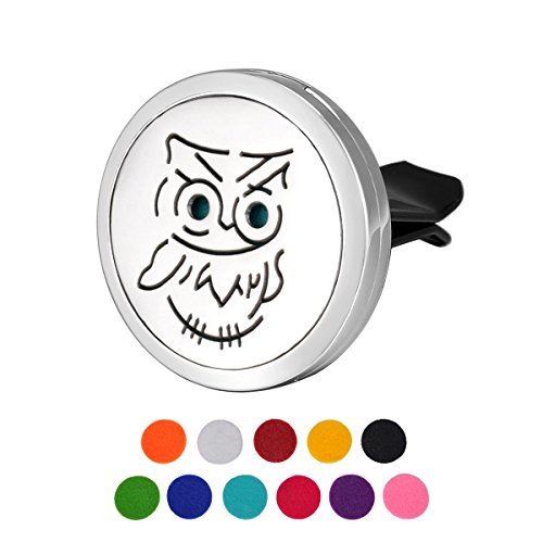 HOUSWEETY Car Air Freshener Aromatherapy Essential Oil Diffuser - Owl Stainless Steel Locket,11 Refill Pads