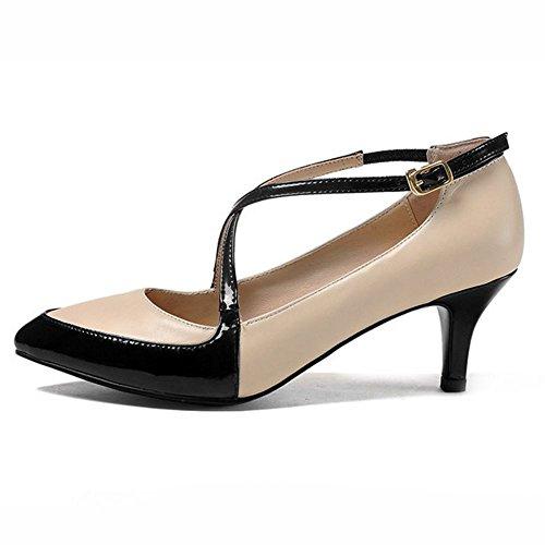 COOLCEPT Damen Pumps mit Absatz Stilett Spitze Toe Mary Jane Elegant Schuhe Aprikose