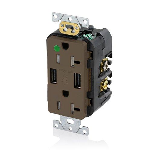 Leviton T5832-HG 20-Amp Hospital Grade USB Charger/Tamper-Resistant Duplex Receptacle, (Brown Hospital Grade Receptacle)