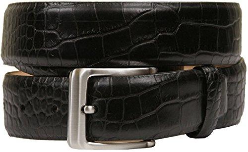 Hagora Men Washed Genuine Calfskin Leather Crocodile Skin Embossing Buckle Belt,Black 34