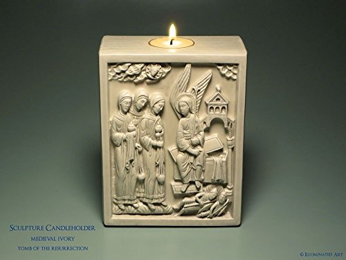 Ivory Tusk Carving (Tomb of the Resurrection - Medieval Sculpture Candle Holder Kit - Christian Gift - Easter)