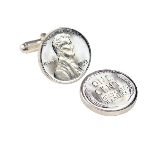 1943 Lincoln Steel Penny Coin Cuff Links | United States Coins | Men's Cufflinks | Minted Only One Year