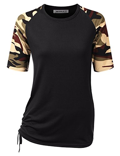 CLOVERY Women's Loose Fit Top Raglan Short Sleeve Round Neck Shirt Plus Size Black/Camo X-Large (Camo Camouflage Raglan T-shirt)