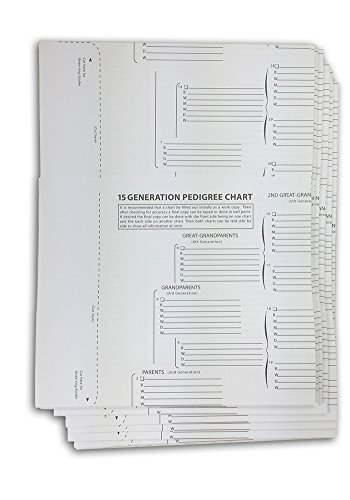 TreeSeek 15 Generation Pedigree Chart | 10 Pack | Blank Genealogy Forms for Family History and Ancestry Work