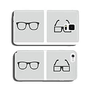Vector black glasses icons set cell phone cover case Samsung S6