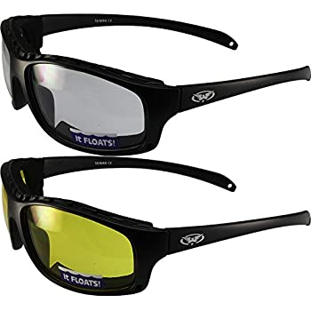 94fb922ddd 2 Pair Global Vision Wildfire-2 Padded Motorcycle Riding Sunglasses Matte Black  Frames 1 Clear Lens and 1 Yellow Lens