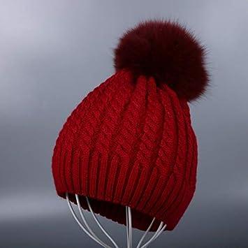 HOKUGA New Women Beanies Real Mink Fur Pom Poms Ball Cap Keep Warm Beanies  Skullies Solid 7061ef4f1