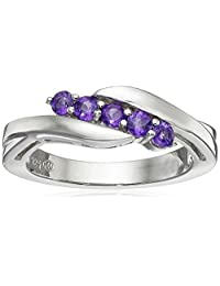 Sterling Silver Five-Stone Amethyst Ring, Size 8