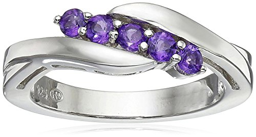 Genuine Amethyst Ring Birthstone (Sterling Silver Genuine African Amethyst Five Stone Bypass Ring, Size 7)
