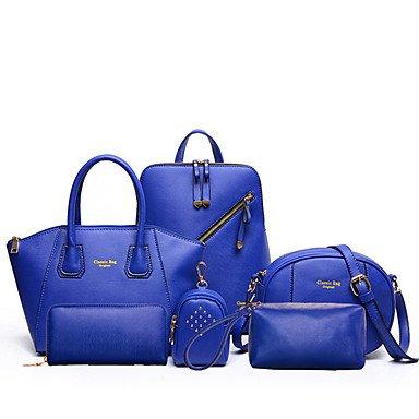 Las mujeres PU Bolso de cuchara / Bolsa / mochila - Rosa / violeta / azul / amarillo / negro,amarillo Blue