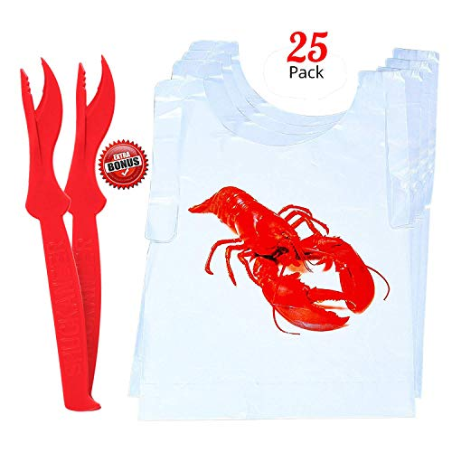 Premium 25-pc Lobster Print Bibs & 2pc Seafood Crackers Bundle Set By Pro Dispose | Perfect For Men, Women & Kids | An Essential Set For Dinner Parties, Lobsters, Crabs, Shellfish, Crawfish & Shrimps