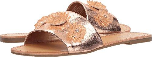 N Women's Just Enough Slip on Slide Flower Gems Flat Sandal, Rose Gold, 9 M US ()