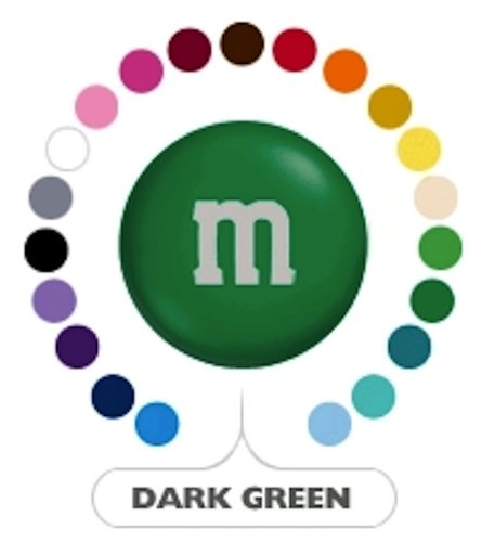 M&M's Dark Green Milk Chocolate Candy 1LB Bag