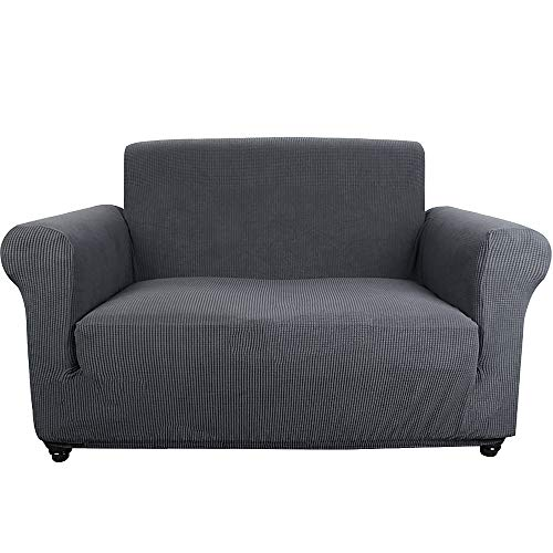 Sancua Loveseat Cover 1-Piece Durable Soft Stretch Slip Resistant Fabric 2 Seater Couch Slip Cover Furniture Protector with Anti-Slip Foam Loveseat Sofa Slipcover for Living Room (Loveseat, Dark Gray) ()