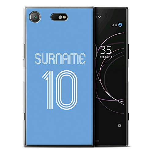 Personalized Custom Soccer Club Jersey Shirt Kit Gel/TPU Case for Sony Xperia XZ1 Compact/Sky Blue Design/Initial/Name/Text DIY Cover