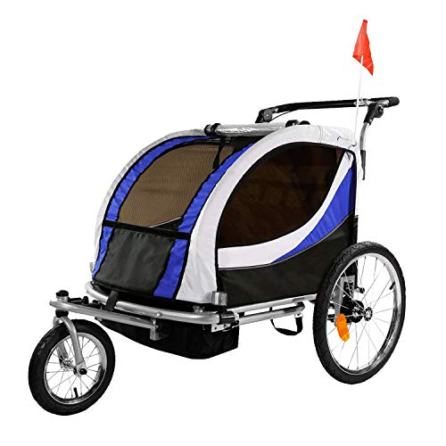 Clevr Deluxe 3-in-1 Double 2 Seat Bicycle Bike Trailer Jogger Stroller for Kids Children | Foldable w/Pivot Front Wheel