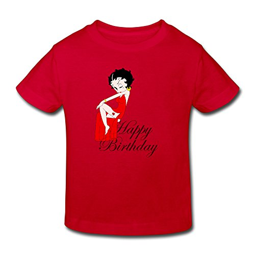 Toddler's 100% Cotton Betty Boop Happy Birthday Cute T-Shirt Red US Size 4 Toddler ()