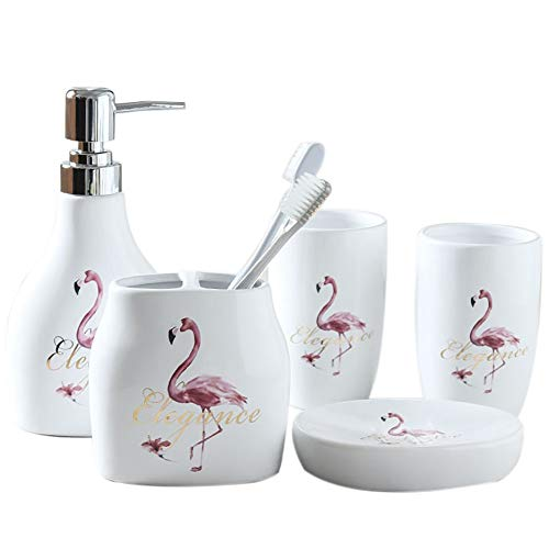 5 Piece Ceramic Bath Accessory Set Includes Bathroom Designer Soap or Lotion Dispenser,Toothbrush Holder,Tumbler,Soap Dish,Wedding,Housewarmung Gift (5 Pieces, Pink Flamingos) from Popular Bathroom Accessory Set