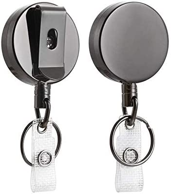 RAGZAN Retractable Key Chain and Retractable ID Holder Office Helper 2Pack Heavy Duty Metal Retractable Badge Holder Reel with Badge Clip 27.5 inches Steel Wire Cord