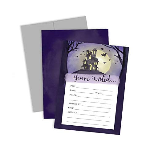 Palmer Street Press Spooky House Halloween Party Invitations (Set of 12 Fill-in-Your-Own Invitations + 12 Grey -