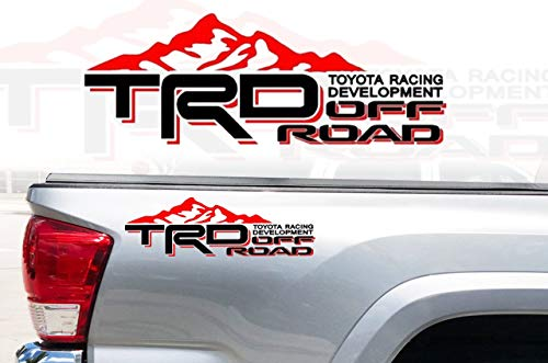 Noa Store Toyota TRD Truck Mountain Off-Road 4x4 Racing Tacoma Decal Vinyl Sticker Pair of 2 (Black/RED)