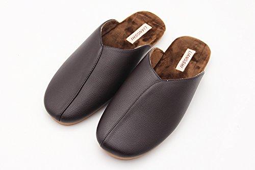 Fankou nell'autunno caldo cotone pantofole inverno home soggiorno le camere da letto sono arredate con pavimenti in legno pantofole uomini e donne matura soft, impermeabile, antiscivolo ,43-44, maschi