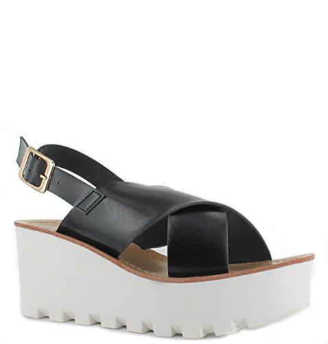Damen Chunky Sohle Plattform Sommer Sandalen Keile Flatform Schuhe Größe 3�? Schwarz