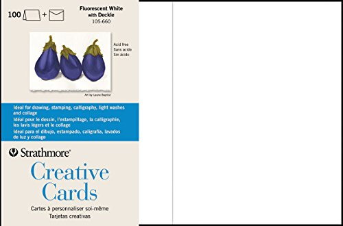 Strathmore Greeting Cards Flr White Pkg 100 (Deckle Edge Invitation)