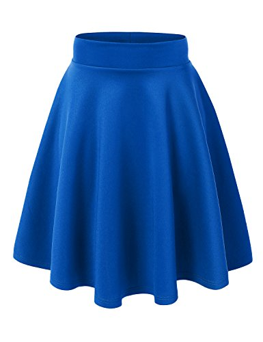 Drape Skirt Dress - MBJ WB829 Womens Flirty Flare Skirt L Royal_Brite