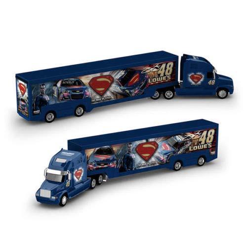 Jimmie Johnson #48 Superman Lowes NASCAR Authentics 1/64 Scale Hauler Trailer Rig Semi Truck Trailer Tractor Cab