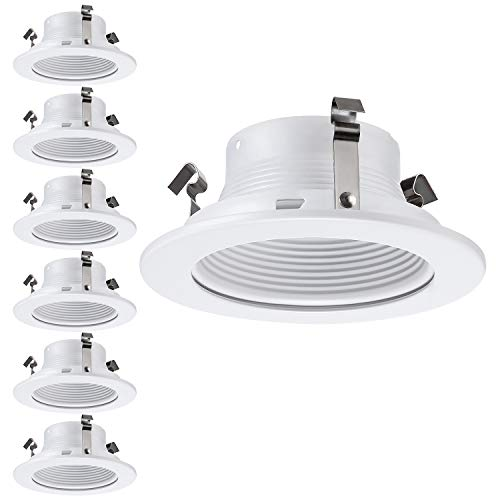 - 6 Pack 4 Inch Recessed Can Light Trim with White Metal Step Baffle, for 4 Inch Recessed Can, Fit Halo/Juno Remodel Recessed Housing, Line Voltage Available
