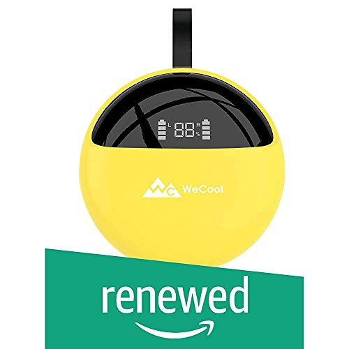 (Renewed) WeCool Moonwalk X2 Innovative Design True Wireless Earbuds for Stereo Music and Bluetooth Earphones with Mic IPX 5 Waterproof with Digital Display Charging Case (Release 2019 Yellow)