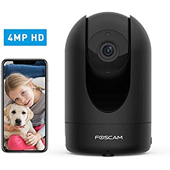 Home Security Camera Foscam R4S 4MP WiFi IP Camera,Wireless Baby Monitor with AI Human Detection Sound Detection 33ft Night Vision 2 Way Audio Camera Compatible with Alexa Black