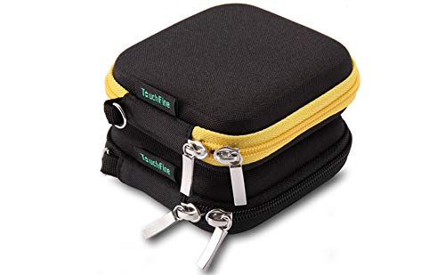 TouchFine Earbuds Carrying Case,Eva Hard Headphone Case for iPod/MP3/Earphones/Usb Cable(2Pack)-Black+Black/Yellow