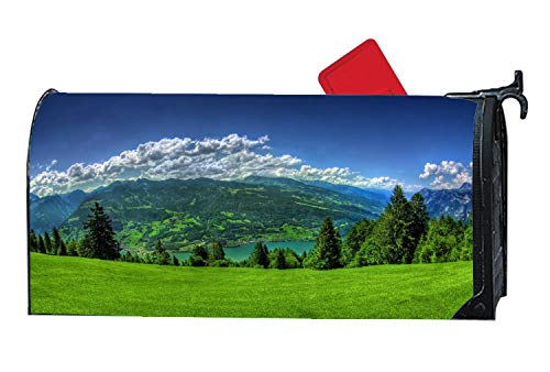 Beautiful Green Nature Landscape Mountains and Lake Mailbox Covers and Wraps,Mailbox Covers Magnetic Autumn Winter,Mailbox Covers Magnetic Standard Size