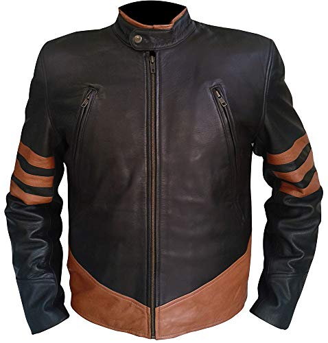 Mens Brown Striped Leather Jacket for Wolverine Logan Fans (L) (Mens Leather Jacket Striped)